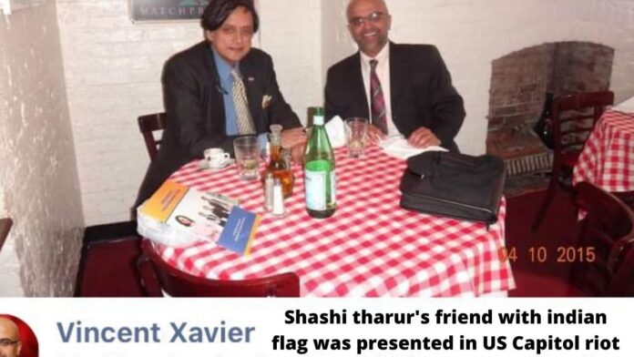 Shashi tharur's friend with indian flag was presented in US Capitol riot